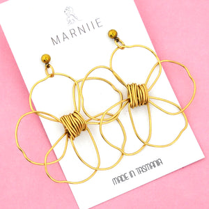 Brass Daisy Flower Child Dangles - Marniie Jewellery