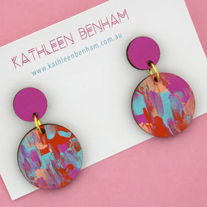 Hand painted bamboo 'Bella Design 2' Dangle Earrings - Kathleen Benham