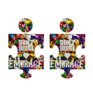 Autism 'Don't Judge Embrace' Rainbow Foil Dangle Earrings - Timber & Cotton