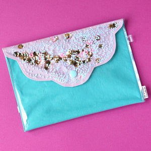 Midi 'Design 6' Confetti Scallop Clutch Bag- Me & Leigh Creations