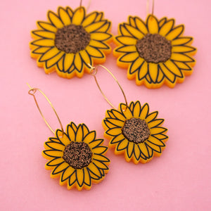 Sunflower 'Hoop' Dangle Earrings (CHOOSE SIZE) - Timber & Cotton