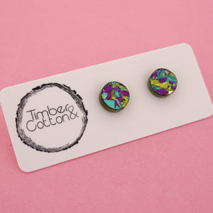 10mm 'Peacock Flake' Circle Stud Earrings - Timber & Cotton