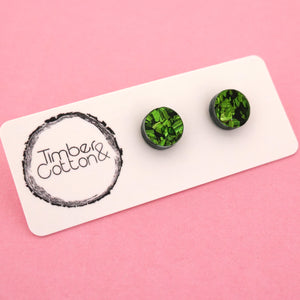 10mm 'Green Flake' Circle Stud Earrings - Timber & Cotton