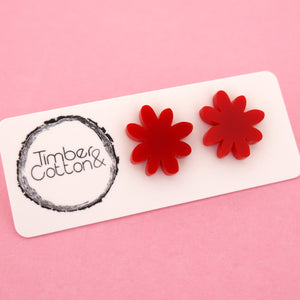Flower 'Red' Stud Earrings - Timber & Cotton