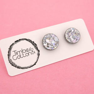 13mm 'Holographic Silver Flake' Circle Stud Earrings - Timber & Cotton