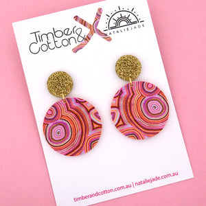 Rainbow Warrior Statement Circle Dangle Earring - Timber & Cotton + Natalie Jade