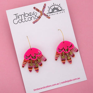 Rainbow Warrior Blooming Delight Hoop Dangle Earring 'Colour 3' - Timber & Cotton + Natalie Jade