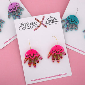 Ocean Dreaming Blooming Delight Hoop Dangle Earring 'Colour 1' - Timber & Cotton + Natalie Jade