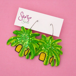 Fern Plant in Yellow & Pink Dot Pot Hoop Dangle Earring- Sarissa Studs