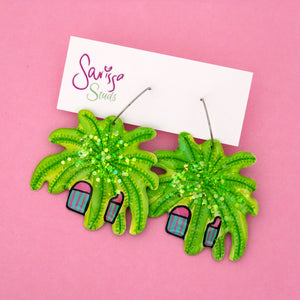 Fern Plant in Pink & Green Stripe Pot Hoop Dangle Earring- Sarissa Studs