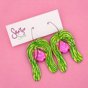 String of Pearl Plant in Pink Pot Hoop Dangle Earring- Sarissa Studs