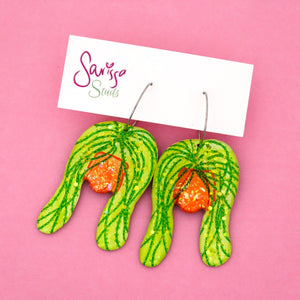 String of Pearl Plant in Orange Pot Hoop Dangle Earring- Sarissa Studs