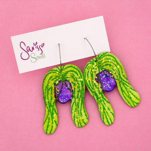 String of Pearl Plant in Purple Pot Hoop Dangle Earring- Sarissa Studs