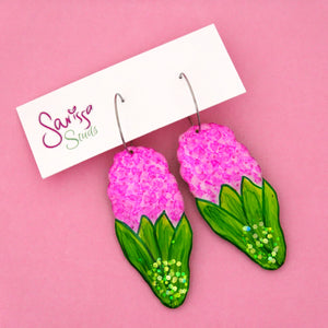 Pink Flower Hoop Dangle Earring- Sarissa Studs