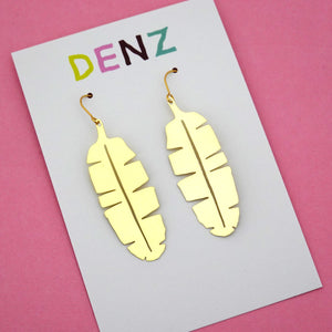 Banana Leaf Plant Hook Dangle Earring in Gold- DENZ