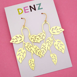Swiss Cheese Plant Hook Dangle Earring in Gold- DENZ