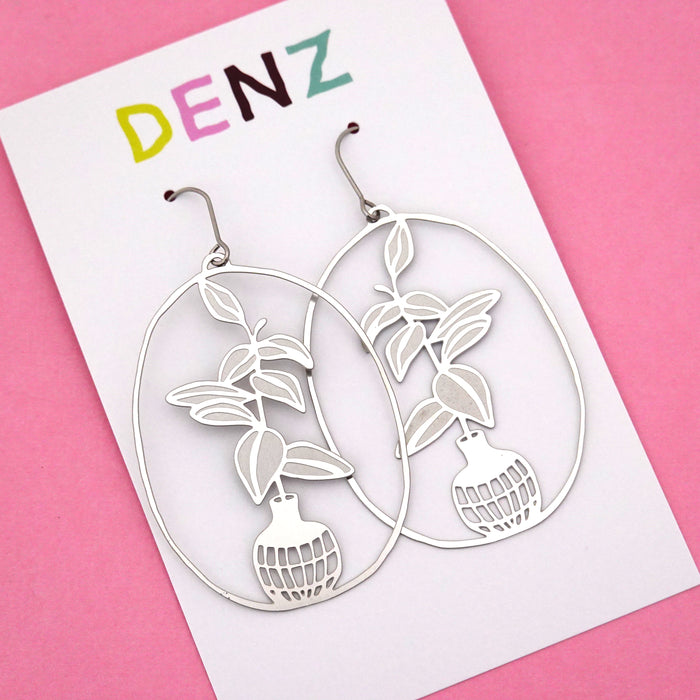 Rubber Fig Pot Plant Hook Dangle Earring in Silver- DENZ