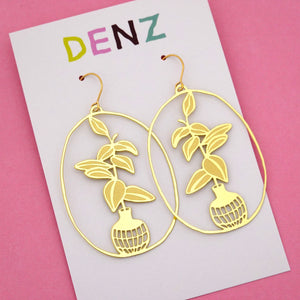 Rubber Fig Pot Plant Hook Dangle Earring in Gold- DENZ
