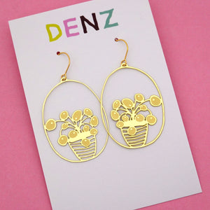 Pilea Pot Plant Hook Dangle Earring in Gold- DENZ