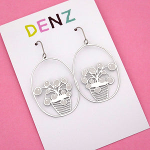 Pilea Pot Plant Hook Dangle Earring in Silver- DENZ