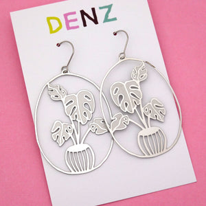 Monstera Pot Plant Hook Dangle Earring in Silver- DENZ