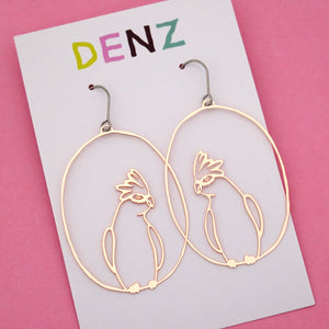 Galah Hook Dangle Earring in Rose Gold- DENZ