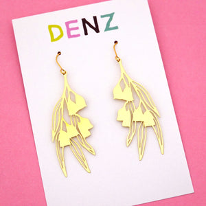 Gum Nut Hook Dangle Earring in Gold- DENZ