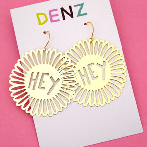 Hey Flower Hook Dangle Earring in Gold- DENZ