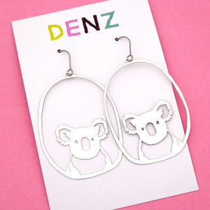 Koala Hook Dangle Earring in Silver- DENZ