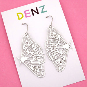 Moth Hook Dangle Earring in Silver- DENZ