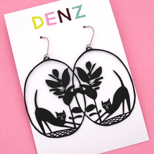 Cat & Pot Plant Hook Dangle Earring in Black- DENZ