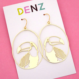 Toucan Hook Dangle Earring in Gold- DENZ
