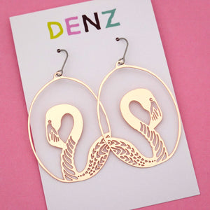 Flamingo Hook Dangle Earring in Rose Gold- DENZ
