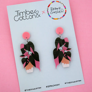 Pink Princess Pot Plant Stud Top Dangle Earring - Timber & Cotton + Brook Gossen