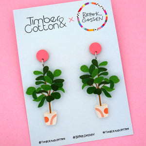 Fiddle Leaf Fig Pot Plant Stud Top Dangle Earring - Timber & Cotton + Brook Gossen