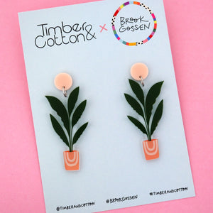 Banana Leaf Palm Pot Plant Stud Top Dangle Earring - Timber & Cotton + Brook Gossen