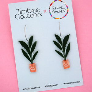 Banana Leaf Palm Pot Plant Hoop Dangle Earring - Timber & Cotton + Brook Gossen