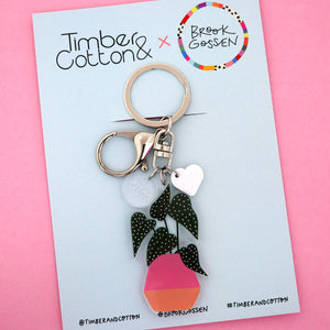 Begonia Maculata Pot Plant Keyring - Timber & Cotton + Brook Gossen