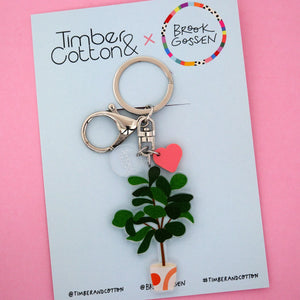 Fiddle Leaf Fig Pot Plant Keyring - Timber & Cotton + Brook Gossen