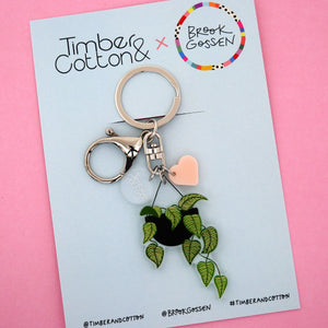 Calathea Hanging Pot Plant Keyring - Timber & Cotton + Brook Gossen