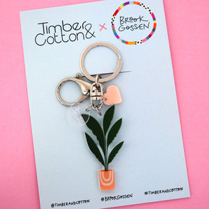 Banana Leaf Palm Pot Plant Keyring - Timber & Cotton + Brook Gossen