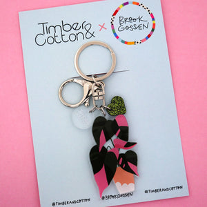 Pink Princess Pot Plant Keyring - Timber & Cotton + Brook Gossen