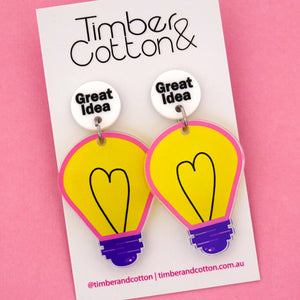 'Great Idea' Light Bulb Science Dangle Earrings- Timber & Cotton