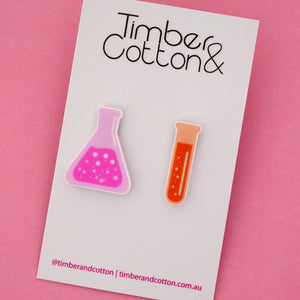 Beaker & Test Tube Science Statement Stud Earrings- Timber & Cotton