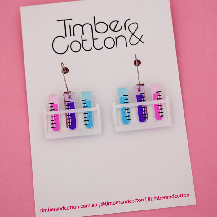 Test Tube Rack Science Hoop Dangle Earrings- Timber & Cotton