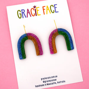 Glitter Rainbow Hoop Dangle Earrings- Gracie Face