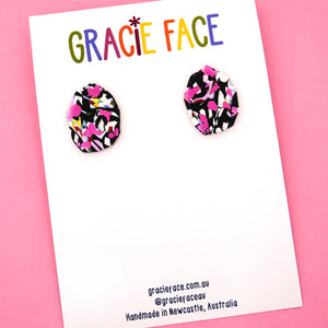 EXCLUSIVE Pink Party 'Style 7' Statement Stud Earrings- Gracie Face