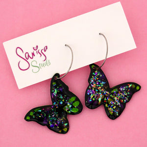 Butterfly 'Colour 10' Hoop Dangle Earring- Sarissa Studs