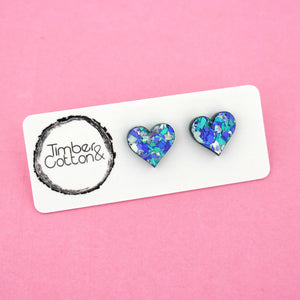 Heart 'Ocean Flake' Stud Earrings - Timber & Cotton