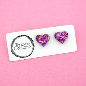 Heart 'Unicorn Flake' Stud Earrings - Timber & Cotton